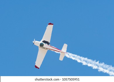 Lancaster, USA - March 24, 2018: Beechcraft F33C Bonanza on display during Los Angeles County Air Show at William J. Fox Airfield.