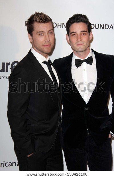 Lance Bass and Michael Turchin at the Elton John Aids Foundation 21st Academy Awards Viewing Party, West Hollywood Park, West Hollywood, CA 02-24-13
