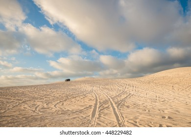 LANCELIN, AUSTRALIA - JANUARY 9, 2016: Dune driving at the Lancelin sand dunes near Perth in Western Australia