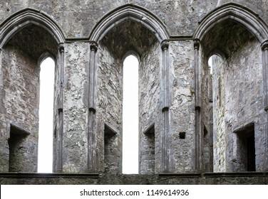 Lancent windows. Norman castle in Ireland.