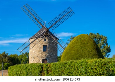 Lancieux, France - August 25, 2019: The windmill in Lancieux in the Cotes-d'Armor department of Brittany, France