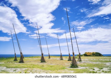 Land Art - Giant Flying Brooms at Chaojing Park with morning blue bright sky, shot in Zhongzheng District, Keelung, Taiwan.