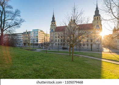 Land court in Halle Saale at sunset in spring, Germany