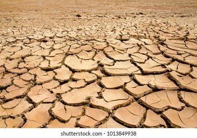 Land with dry and cracked clay ground into the dry