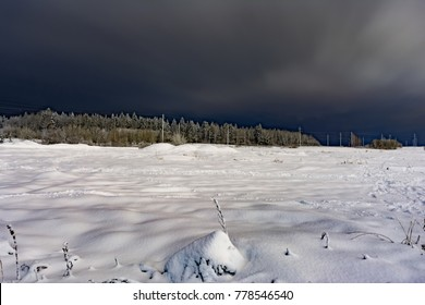 The land with dry grass and the forest are covered by a fresh snow cover, winter night, nature background