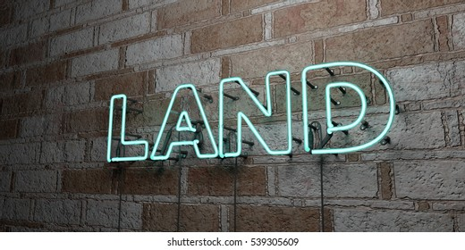 LAND - Glowing Neon Sign on stonework wall - 3D rendered royalty free stock illustration.  Can be used for online banner ads and direct mailers.