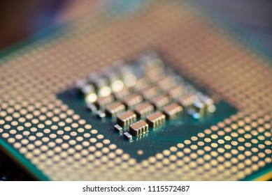 Land Grid Array CPU with narrow focus.