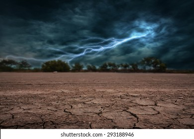 Land to the ground dry and cracked. With lightning storm