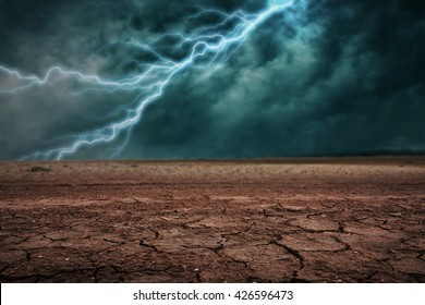 Land to the ground dry cracked. With lightning storm