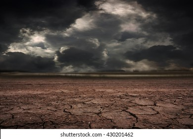 Land to the ground dry cracked with storm.