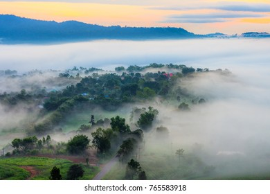 Land of mist from Khao Ta-Khian Ngo aerial viewpoint. It is in Khao Kho District, Phetchabun, Thailand, Southeast Asia.
