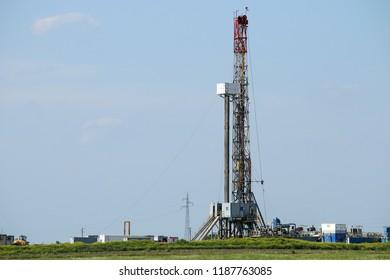land oil drilling rig on field mining industry
