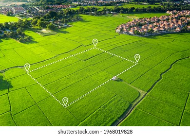 Land plot in aerial view. Identify registration symbol of vacant area for map. That property, real estate for business of home, house or residential i.e. development, sale, buy, purchase or investment - Shutterstock ID 1968019828