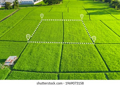 Land plot in aerial view. Identify registration symbol of vacant area for map. That property, real estate for business of home, house or residential i.e. development, sale, buy, purchase or investment - Shutterstock ID 1969073158