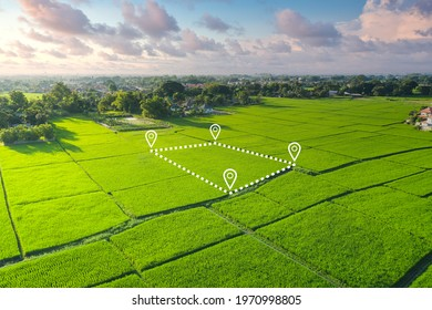 Land plot in aerial view. Identify registration symbol of vacant area for map. That property, real estate for business of home, house or residential i.e. development, sale, buy, purchase or investment - Shutterstock ID 1970998805