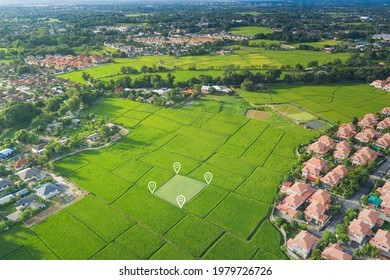 Land plot in aerial view. Identify registration symbol of vacant area for map. That property, real estate for business of home, house or residential i.e. development, sale, buy, purchase or investment - Shutterstock ID 1979726726