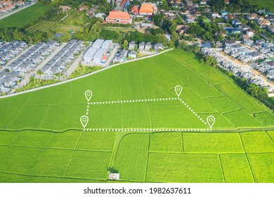 Land plot in aerial view. Identify registration symbol of vacant area for map. That property, real estate for business of home, house or residential i.e. construction, development, sale, buy or invest