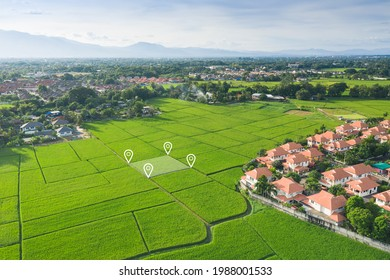 Land plot in aerial view. Identify registration symbol of vacant area for map. That property, real estate for business of home, house or residential i.e. construction, development, sale, buy. - Shutterstock ID 1988001533