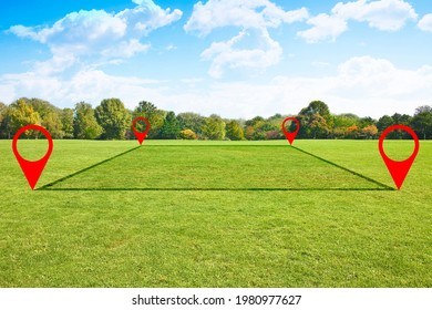 Land plot management - real estate concept with a vacant land on a green field available for building construction and housing subdivision in a residential area for sale, rent, buy or investment. - Shutterstock ID 1980977627