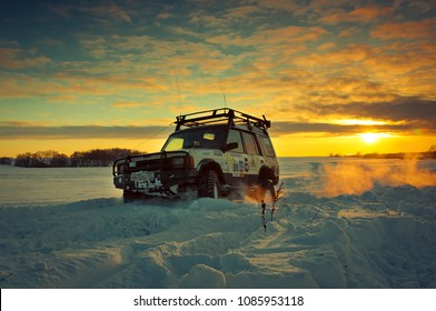 Land Rover Discovery suv Car on background the Russian winter. Mattrazz Trophy #18. February 19, 2011