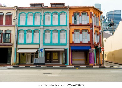 A land scape view of colorful white and orange color vintage buildings in the town, China town, Singapore.