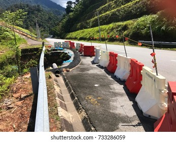 Land slide at road Malaysia, Road slide in Cameron Highlands Malaysia