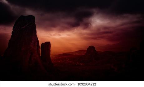 land spikes under a heavy evening sky - deep horizon