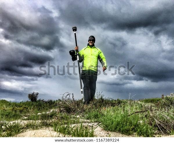 Land Surveyor Walking Trimble Gps Rover Stock Photo (Edit
