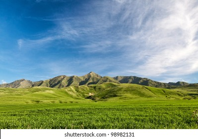 Landcscape hight mountains. Landscape in the fields.