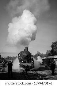 LANDERYD, SWEDEN - SEPTEMBER 4, 2016: People taking photos of old steam locomotive in Landeryd, Sweden