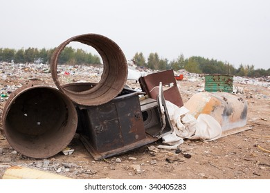 Landfill . Garbage. Municipal solid waste and food waste