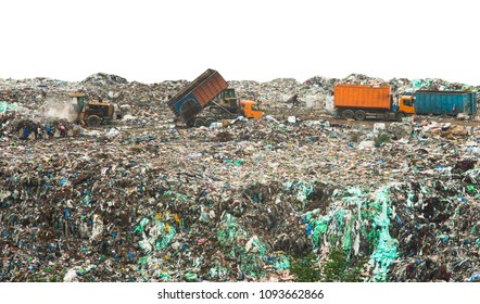 landfill with huge piles of garbage isolated on white