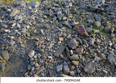Landfills  with gravel rocks, stones, construction aggregate, riprap and sand. Country side agriculture farmland gravel landfills to build house at Malaysia.