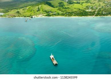Landing Barge at Anchor off St Pauls, Moa Island, Torres Straits Australia