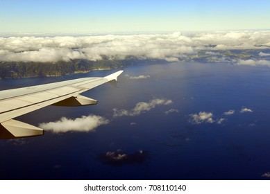 landing by airplane in Ponta Delgada (azores), view over the island