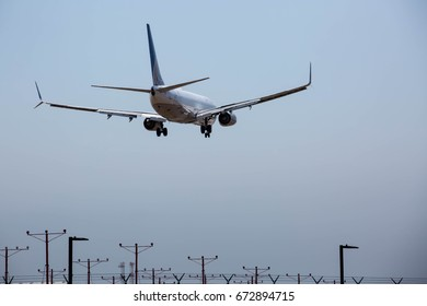 Landing commercial airplane