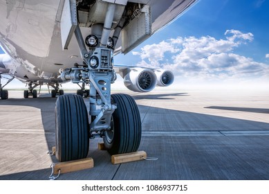 landing gear of an modern airliner at the airfield