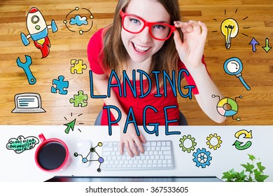 Landing Page concept with young woman wearing red glasses in her home office