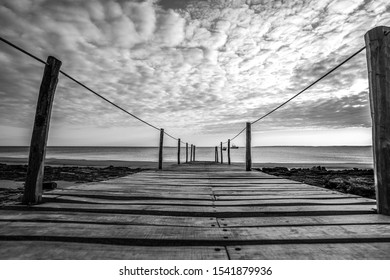 Landing stage on a beach at the Indian Ocean