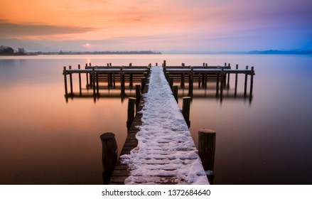 landing stage at sunset in winter