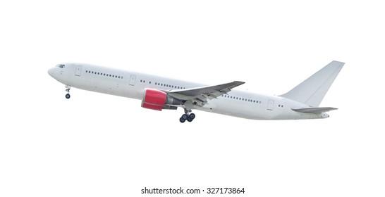 landing of white plane isolated background for multipurpose using