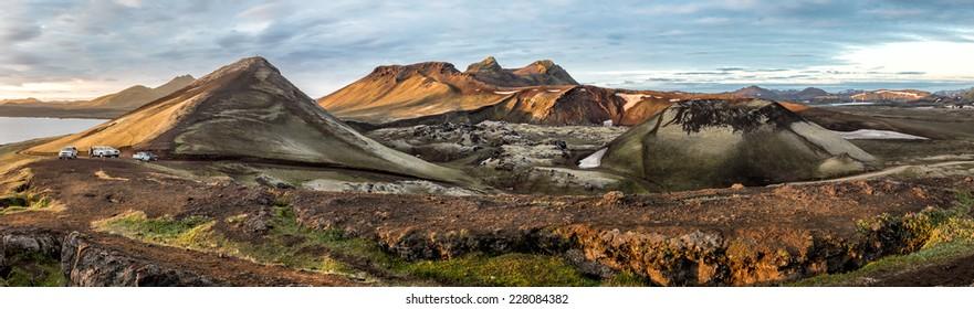 Landmannalaugar colorful mountains. Panorama view, Iceland