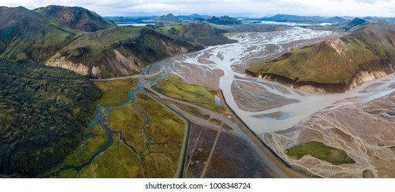 Landmannalaugar colours are amazing from aerial view in autumn season .