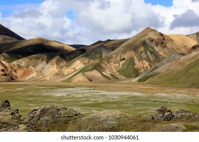 Landmannalaugar / Iceland - August 15, 2017: Colorful mountains at Landmannalaugar park, Iceland, Europe