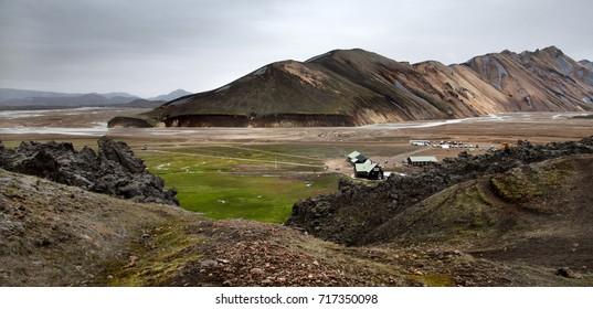 Landmannalaugar landscape with camping, Iceland