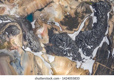 Landmannalaugar National Park - Iceland. Rainbow Mountains. Aerial view of beautiful colorful volcanic mountains. Top view. Picture made by drone from above.