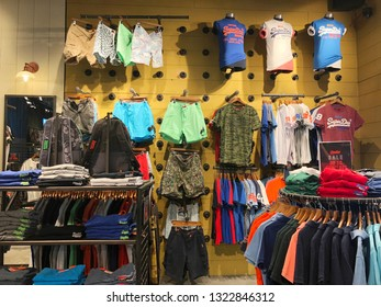 Landmark 81, Vinhomes, Ho Chi Minh city, Vietnam / Feb 24, 2019: Interior view of Superdry fashion store. It is a UK branded clothing company.