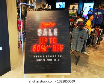 Landmark 81, Vinhomes, Ho Chi Minh city, Vietnam / Feb 24, 2019: Photo of discount sale sign at Superdry fashion store. It is a UK branded clothing company.