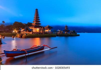 Landmark of Bali  pura ulun danu bratan temple  Beratan Lake in Bali Indonesia