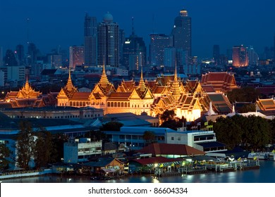 Landmark of Bangkok city, Thailand. Skyline view of The Grand Palace, King Palace at night. Bangkok is big city in Asia but easy to travelling by boat, bus, train or car. Thailand is very popular.